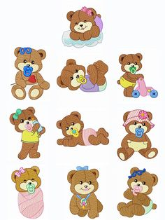 Baby Bears (4x4) | Embroidery Delight | Your source for all embroidery designs, Applique, Quilt Blocks, Animal, Floral, Lacework, etc.