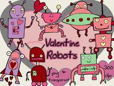 Beep beep! Love robots are coming your way! Valentine Clip Art (good for boys!) #tpt #valentinesday #clipart