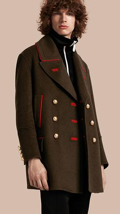 Dark military green Cashmere Wool Military Pea Coat - Burberry