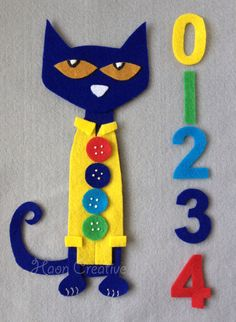 Reserved for SW - Pete the Cat and His Four Groovy Buttons Felt Story / Flannel Board Set Flannel Board Stories, Felt Board Stories, Felt Stories, Flannel Boards, Preschool Crafts, Toddler Activities, Preschool Activities, Crafts For Kids, Arts And Crafts