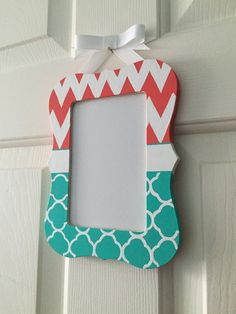 Coral and Aqua Picture Frame for Nursery or by aMAzingBoutique