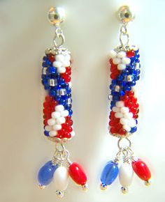 Designer Jewelry - Stars and Stripes Earrings pattern $7