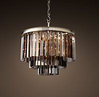1920s Odeon Smoke Glass Fringe 3-Ring Round Chandelier - Polished Nickel