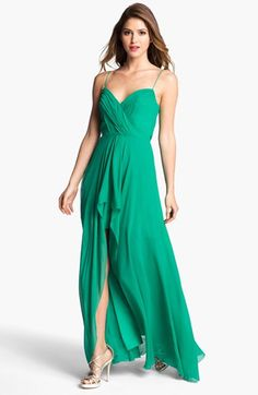 Nicole Miller Draped High/Low Chiffon Dress available at #Nordstrom