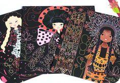 Mes créations : Cartes à gratter - Princesses du monde Illustration de Anne Cresci Publié en 2015 par les éditions Gründ jeunesse