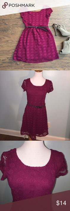 Raspberry crocheted minidress Size small (juniors). Adorable raspberry colored dress with crochet overlay. Fully lined. Comes with woven belt. Super cute and comfy! Polyester/spandex blend Love Reigns Dresses Mini