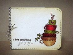 Donna Mikasa coffee gift card holder using rubber stamps by Purple Onion Designs.
