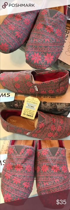 Men's Toms Red Snowflake Classic Shoes Men's Toms Red Snowflake Classic Shoes. New in box 📦 TOMS Shoes Loafers & Slip-Ons