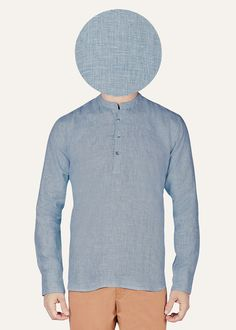 This Gheebutter mens shirt is handmade from super fine linen. Watch it become even softer after each wash. Features mother of pearl buttons & nehru collar. Made in India.   If you are between sizes, go for the larger of the two.US & UK size conversion: S -36 M - 38 L - 40 XL - 42XXL - 44