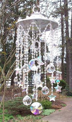 ☆ Celestial Crystal Sun Catcher :¦: Etsy Shop: Sheriscrystals ☆ by ramona Crystal Wind Chimes, Glass Wind Chimes, Diy Wind Chimes, Mobiles, Garden Projects, Diy Projects, Wind Spinners, Deco Floral, Large Crystals