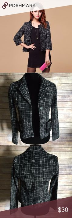 Rave Black White Plaid Women's Jacket Blazer Rave Black White Plaid Women's Jacket Blazer Size S Casual Career, in EUC rave Jackets & Coats Blazers