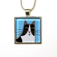 Tuxedo Cat Glass Pendant Jewelry by SusanFayePetProjects, $18.00