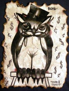 'Oily Boyd: The Owl with Monocle & Tophat' by Anji Marth