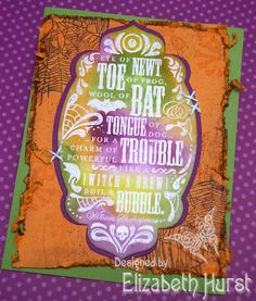 Toil & Trouble distressed swap card.