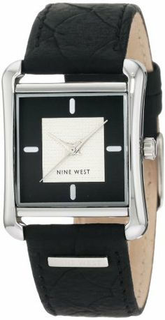 """Nine West Women's NW/1205BKBK Square Silver-Tone Black Strap Watch Nine West. $49.00. Black dial with a textured silver-tone center zone with silver-tone stick markers at 12-3-6 and """"9"""" at 9 o'clock. Black snake print strap. Silver-tone hour hands and second hand sweep. Square silver-tone stainless steel buckle closure. Square silver-tone case"""