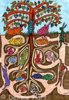 Giclee Rabbit Art PRINT Colorful Oaxacan Bunny Tree by debhartsart, $20.00