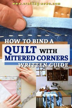 Do you want to finish your quilt with a nice and clean look? We have prepared an article on how to bind a quilt with mitered corners to help you!Binding creates a clean and finished look to your quilt. Aside from covering the raw edges, it also holds the layers of the quilt together.There are lots of ways to bind a quilt, but for this article, we'll focus on how to bind a quilt with a mitered corner. Any idea what's a mitered corner?#quilting Craft Tutorials, Sewing Tutorials, Sewing Crafts, Sewing Projects, Modern Quilting, Hand Quilting, Quilt Binding, Needlecrafts, Mitered Corners