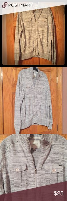 Guess sweater Really nice zip up. Brand new condition. Offers acceptable Guess Sweaters Zip Up