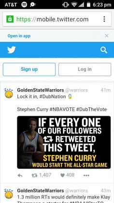 Hey go vote on twitter for Steph Curry to start the All-Star Game! c1fde86b2