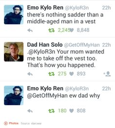 LOL there's no out-snarking your dad kylo, don't even Emo Kylo Ren, Rey Star Wars, Star War 3, Bad Feeling, Star Wars Humor, Love Stars, Destiel, I Laughed, Science Fiction