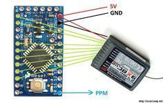 DIY PWM to PPM Converter for 2.4GHz Receiver using Arduino #dronesdiy