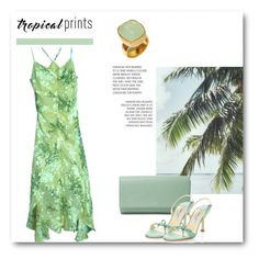 """Tropical Prints"" by dezaval ❤ liked on Polyvore featuring Sue Wong, FOSSIL, Jimmy Choo, tropicalprints and hottropics"