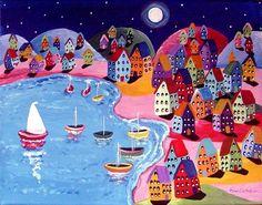 Voile de nuit coloré abrite pleine lune par reniebritenbucher