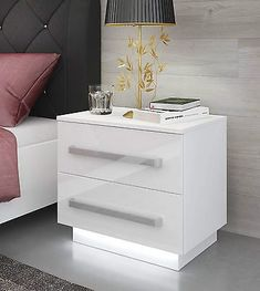 Modern and Stylish Bedside Cabinet. Front panels are presented with a high gloss finish. White Gloss Bedroom Furniture, Grey Bedroom Decor, Bedroom Furniture Design, Room Ideas Bedroom, Modern Bedroom, Bedside Table Styling, Modern Bedside Table, Bedside Tables, White Bedside Cabinets