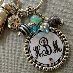 Monogram keychain PERSONALIZED  Bridesmaid charm by buttonit, $18.50