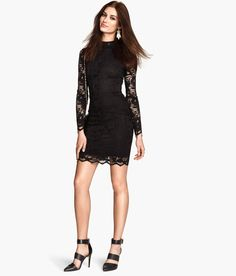 Short black lace dress with stand-up collar & long sleeves. | Party in H&M