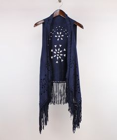 Love this Navy Geometric Faux Suede Fringe Vest on #zulily! #zulilyfinds