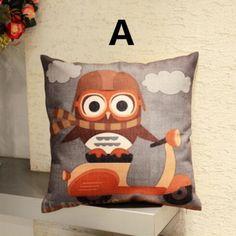 Owl animal linen pillow for couch cute cartoon cushions