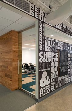 Typographic wall art in theme of BradsDeals  Also like wood element