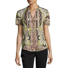 Etro Short-Sleeve Paisley-Print Blouse ($760) ❤ liked on Polyvore featuring tops, blouses, black, women's apparel tops, paisley blouse, etro tops, short-sleeve blouse, short sleeve silk top and short sleeve tops