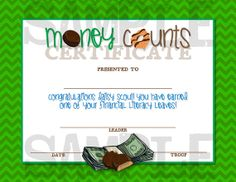 Girl Scouts Daisy Money Counts Certificate - DIY, Printable - Cookie Training, Cookie Sales, Girl Scout Cookies - INSTANT DOWNLOAD
