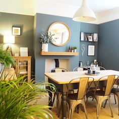 You'll have the ability to discover dining room ideas for decorating in whatever from Victorian to renaissance Italian, along with more modern and modern-day styles. Everything depends upon what you like, and how you like decorating a dining room. Dining Room Blue, Dining Room Colors, Dining Room Wall Decor, Dining Room Design, Living Room Decor Blue, Dining Room Fireplace, Dining Area, Kitchen Dining, Home Interior