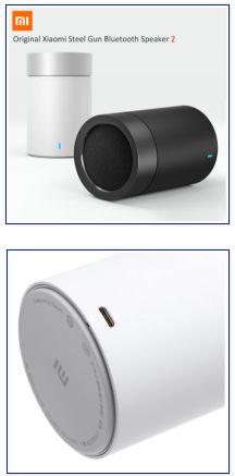 Original Xiaomi Steel Gun Bluetooth Speaker 2. Беспроводная портативная аудио мини колонка, спикер, динамик. Bluetooth 4.1, встроенный микрофон для громкой связи, поставляется с батареей 1200 mAh, 3.7 В, 60 мм*60 мм*93.3 мм, 5 Вт, 4 Ом, микро USB, HIFI, двухканальный (стерео), 2 динамика.
