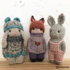 OK, question: which do you like more. bunny ears straight up and listening Knitted Doll Patterns, Doll Patterns Free, Knitted Dolls, Baby Knitting Patterns, Knitting Stitches, Crochet Dolls, Knitting For Kids, Free Knitting, Knitting Projects