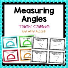 Includes 32 measuring angles task cards. Cards 1-16 include the protractor already on the card.  The student just needs to read what is says. For cards 17-32, students will need to be provided their own protractor to measure the angles. It includes the following: pg. 1:  cover page pg. 2-9:  32 different task cards pg. 10:  miniature copy of cover and answer sheet for easier storage pg. 11-19: b&w copies of task cards pg. 20:  task card recording sheet ... Protractor, 5th Grade Math, Recording Sheets, Special Education Teacher, 5th Grades, Fun Math, Cover Pages, Task Cards, Teaching Math