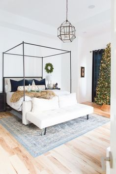 Christmas-decor-ideas master bedroom CC and Mikes Modern Eclectic Christmas Home Tour Bedroom Decor For Small Rooms, Bedroom Decor For Couples, Home Decor Bedroom, Modern Bedroom, Bedroom Ideas, Eclectic Bedrooms, Canopy Bedroom, Canopy Beds, 60s Bedroom