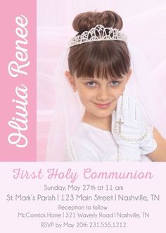 Photo First Communion Invitations, Girls Holy Communion Invites, Announce It! Printable Invitations, Printables, First Communion Invitations, First Holy Communion, Text Color, Printing Services, Holi, Party Ideas, Girls