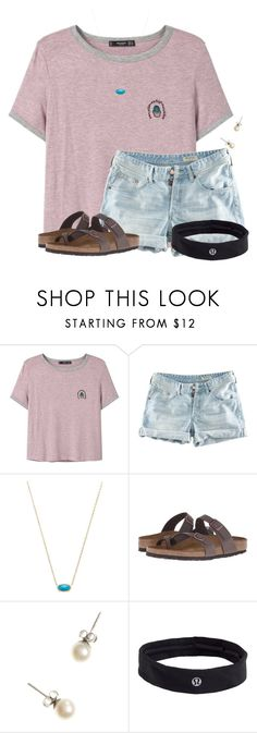 """~cactus flower~"" by flroasburn ❤ liked on Polyvore featuring MANGO, H&M, Kendra Scott, Birkenstock, J.Crew and lululemon"