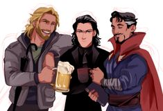 Drawing Superhero Thor, Loki, and Doctor Strange, Marvel superheros - Loki Thor, Marvel Dc Comics, Marvel Avengers, Loki Laufeyson, Loki Art, Dc Memes, Marvel Memes, Captain America, Nananana Batman