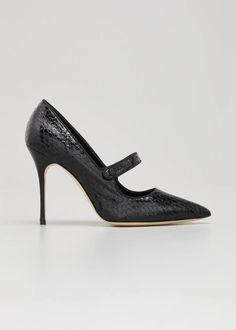 Manolo Blahnik Campari Snakeskin Mary Jane Pumps - Bergdorf Goodman Flat Booties, Suede Booties, Lace Up Shoes, New Shoes, Loafer Mules, Mary Jane Pumps, Latest Shoes, Ballerina Flats, See By Chloe