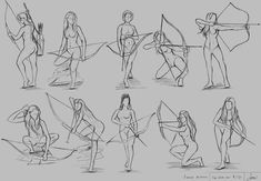 """Stage Aloy Fan Art """"Horizon Zero Dawn"""" - Drawing Still 2020 Figure Drawing Reference, Drawing Reference Poses, Anatomy Sketches, Art Drawings Sketches, Archery Poses, Drawing Body Poses, Fighting Poses, Art Poses, Drawing Techniques"""
