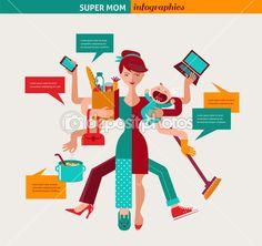 Super Mãe - ilustração de mãe multitarefa — Ilustração de Stock #38403441