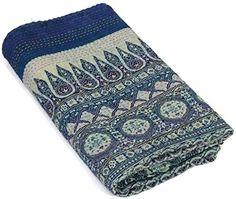 Blue Ajrakh Kantha Quilt Hand Block Print Kantha Bedspread Indigo Print Bedcover Vegetable Dye Kantha Blanket Ajrakh Kantha Quilt Manglam arts http://www.amazon.com/dp/B011EBE96Y/ref=cm_sw_r_pi_dp_JWG5vb1R40DN2