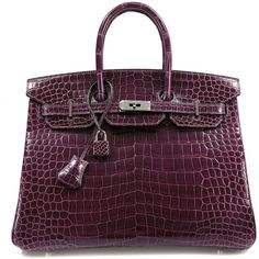 Authentic Hermès Cassis Porosus Crocodile 35cm Birkin Bag (326,890 AED) ❤ liked on Polyvore featuring bags, handbags, hermès, crocodile purse, hermes handbags, crocodile bag and hermes purse