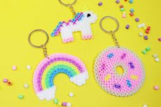 DIY keychain made of iron beads: simple gift idea - Make DIY keychain from ironing beads yourself: simple DIY gift idea 🎁 - Diy Perler Beads, Perler Bead Art, Diy Gifts For Christmas, Gifts For Kids, Easy Diy Gifts, Simple Gifts, Simple Diy, Diy Lush, Art Perle