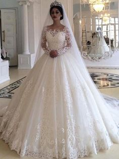 Ball Gown Wedding Dress with Long Sleeves, Fashion Custom Made Bridal Dresses, P. - Ball Gown Wedding Dress with Long Sleeves, Fashion Custom Made Bridal Dresses, Plus Size Wedding dress Source by - Lace Wedding Dress With Sleeves, Lace Ball Gowns, Wedding Dress Train, Long Sleeve Wedding, Ball Dresses, Dresses Dresses, Lace Sleeves, Dresses Online, Custom Wedding Dress